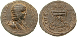Julia Maesa, de grootmoeder van Elagabalus en het brein achter zijn machtsgreep. Onder Caracalla waren de vrouwelijke leden van de Severisch-Bassianische familie sterk in invloed gestegen.