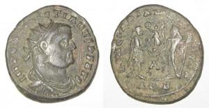 Militair uitgegeven munt van Diocletianus. De keizer was een fanatiek hervormer, die daarmee de ondergang van het rijk voor lange tijd wist te voorkomen.