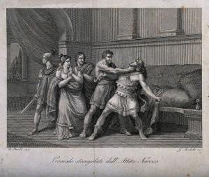 Commodus gewurgd door de atleet Narcissus, gravure door G. Mochetti. (1781-1835)