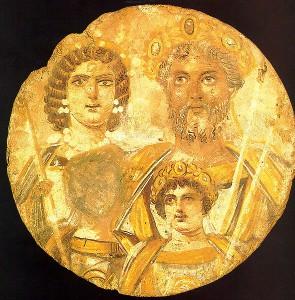 Tondo uit Egypte met Septimius Severus, zijn vrouw Julia Domna en hun twee zoons. Het gezicht van jongste zoon Geta is uitgeveegd, waarschijnlijk op last van Caracalla.