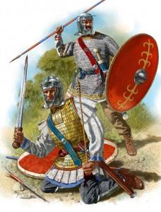 Soldaten uit de Crisis van de Derde Eeuw, herkenbaar aan hun ovalen schilden, langere zwaarden en meer dekkende Niederbieber-helmen.