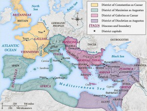 Het Romeinse rijk in vieren opgedeeld. De hoofdsteden waren hierbij afhankelijk van waar welke keizer woonde. Trier was dus eerst het centrum van de westelijke Caesar, tot deze tot Augustus verheven werd.