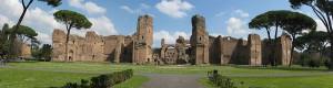 Panorama van de enorme Thermen van Caracalla, die groter waren dan de Sint-Pieter.