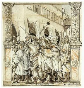 De vernedering van keizer Valerianus door de Perzische koning Shapur, door Hans Holbein de Jongere (ca. 1521)