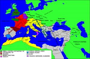 Chaos in het West-Romeinse rijk in 410. Grote delen van Spanje zijn in handen van de Vandalen en Alanen, terwijl veel andere gebieden in handen van tegenkeizers zijn. De Visigoten zijn na de plundering van Rome zuidwaarts gegaan.