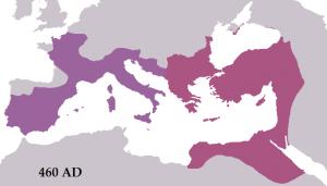 Op deze kaart lijkt het West-Romeinse rijk nog grotendeels intact. Maar vergis u niet: de verliezen waren enorm en ook in Gallië, Spanje en Dalmatie was het gezag erg zwak.