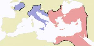 De Romeinse wereld rond het jaar 475. De paarse gebieden vielen onder Romeinse controle en formeel onder de West-Romeinse keizer. Maar dat laatste was niet meer dan formeel.