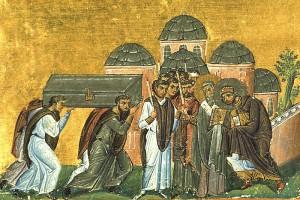 11e-eeuws miniatuur waarop Theodosius II de relikwieën van de door hem gerehabiliteerde Johannes Chrysostomos ontvangt.