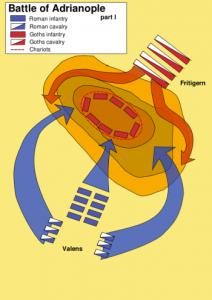 De noodlottige veldslag bij Adrianopel, waar de opstandige Fritigern Valens' leger in de pan hakte.