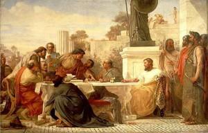"""""""Julianus Apostata leidt een vergadering van sektariërs"""", door Edward Armitage, 1875. Julianus was een intellectueel man die tijdens zijn leven diverse teksten schreef. Niet alleen propagandistische en filosofische, maar ook polemieken en humoristische teksten."""