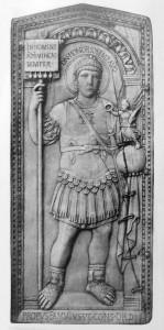 Afbeelding van Honorius als consul. Deze titel had allang niet meer de militaire functie van vroeger. Honorius was net zo slecht in legerzaken als in civiel bestuur.