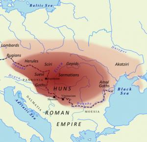 Het rijk der Hunnen rond het jaar 450. Grote aantallen Germanen waren onderworpen of vazal, terwijl het machtsbereik van de Hunnen tot binnen de Romeinse grenzen kwam.