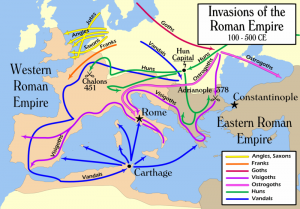 Nadat de Goten eind 4e eeuw het rijk via de Balkan waren binnengekomen, volgden in 406-407  o.a. de Vandalen en Alanen die de Rijn overstaken en tot in Spanje doorkwamen. Ondertussen hielden de Visigoten huis in Italië.