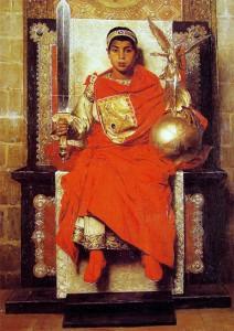 Keizer Honoriius, door Jean Paul Laurens (1880). Het schilderij benadrukt de tragische rol van Honorius als kind-keizer.