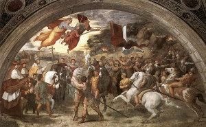 De ontmoeting tussen Leo de Grote en Attila. (Fresco door Raphael.) Volgens de legende zouden de heiligen Petrus en Paulus plotseling met getrokken zwaard boven paus Leo verschenen zijn, waarop de Hunnen zich in angst terugtrokken. Leo I is hier afgebeeld als portret van de toenmalige paus Leo X.