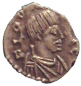 Odoaker op een muntstuk uit Ravenna, ca. 477. Opvallend is zijn grote snor, die destijds als typisch barbaars gold.