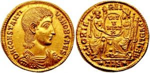 Solidus van Constantius Gallus, neef en onderkeizer van Constantius II. Zijn slechte bestuur deed hem in ongenade vallen.