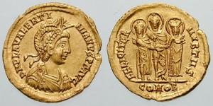 Solidus ter ere van het huwelijk tussen Valentinianus III en Licinia Eudoxia.