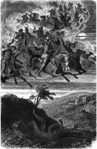 Wodan als aanvoerder van de Wilde Jacht. Na de kerstening in de middeleeuwen werd Wodan in deze folklore vervangen door heiligen als Sint-Maarten of Sint-Nicolaas. Ook ander goden en historische personen worden genoemd.