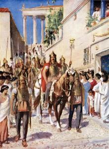 Alarik trekt Athene binnen. In tegenstelling tot wat veel mensen denken waren de Gotische legers geen horde woestelingen in beestenvellen, maar echte professionele soldaten.