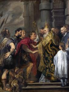Sint-Ambrosius en keizer Theodosius, door Anthoon van Dyck. De schilder werd niet gehinderd door kennis van historische klederdracht. De kleding van de keizer en zijn gevolg lijkt uit een eerdere periode, die van de bisschop en zijn gevolg van een veel latere.
