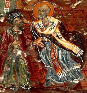 Nicolaas valt Arius aan op het Concilie van Nicea. Volgens sommige versies van het verhaal kwam keizer Constantijn persoonlijk tussenbeide.