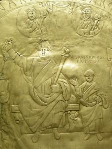 De Missiorum van Aspar (detail) waarop Ardabur Aspar is afgebeeld met zijn zoon.