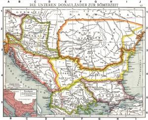 Theodosius maakte een aantal belangrijke stappen in zijn carrière op de Balkan. Moesia is geel omrand.