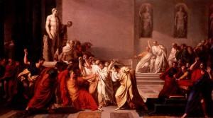 """""""Hoedt u voor de Idus van maart!"""" De datum werd legendarisch doordat Caesar op die dag in de Senaat vermoord werd. (Vincenzo Camuccini, """"Morte di Cesare"""", 1798.)"""
