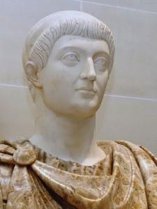 Buste van de zo jammerlijke keizer Constans (Het Louvre)