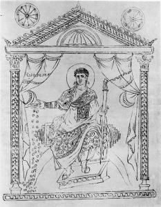 Constantius II als gulle gever afgebeeld op de Chronografie (kalender) van 354. (Kopie uit de Renaissance, gebaseerd op een Karolingisch kopie.)