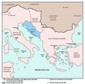 De Balkan in de 5e eeuw, met in het blauw Dalmatia, waar Julius Nepos controle behield, net als zijn oom voor hem.