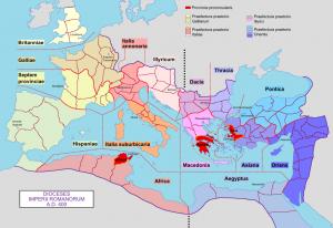 Het Romeinse rijk was eind 4e eeuw opgedeeld in vier prefecturen, die elk weer waren opgedeeld in enkele diocesen.