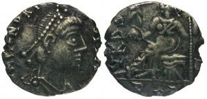 Geiseric, koning der Vandalen en Alanen, afgebeeld op een siliqua.