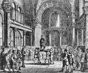 Julianus in Parijs tot keizer uitgeroepen. Het heffen op het schild zou een Germaans gebruik zijn, wat een groot aantal huurlingen in zijn leger doet vermoeden.