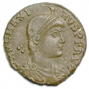 Keizer Magnus Maximus. Naar aanleiding van legenden uit Wales is hij als Britse koning opgenomen in Geoffrey van Monmouths Historia Regum Brittanniae.