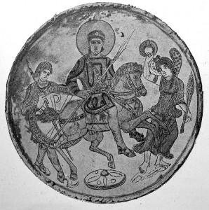 Missorium met Constantius II afgebeeld te paard. Victoria, de overwinning, gaat voor hem uit en een lijfwacht bewaakt hem. Let op de aureool of nimbus rondom zijn hoofd.