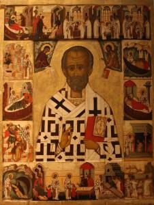 Russisch icoon met Sint-Nicolaas en gebeurtenissen uit zijn leven (Nationaal Museum, Stockholm). Op Russische iconen heeft Nicolaas een opvallend bruine huid. De beroemde mijter ontbreekt, want deze werd in zijn tijd nog niet gedragen.
