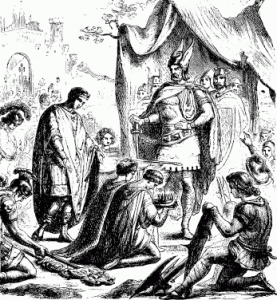 Romulus Augustulus treedt af ten overstaan van Odoaker, hier afgebeeld als een stereotype Wagneriaanse Germaan.