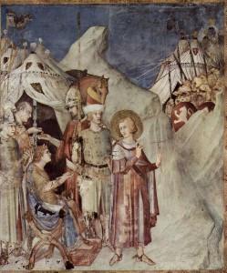 Sint-Maarten verlaat het leger (fresco van Simeone Martini). Sint-Maarten zou de heidense Julianus (in zijn tijd als Caesar) persoonlijk vertelt hebben dat hij het leger verliet omdat hij als christen geen mens wilde doden. Wellicht is dit bedoeld om Martinus (wiens diensttijd erop moet hebben gezeten) extra christelijk neer te zetten.