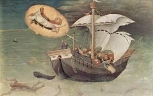 """Sint-Nicolaas, omgeven door een aureool, verschijnt en redt een schip van de storm. In het Grieks wordt hij ook wel Nikolaos Thaumaturgos (""""de wonderdoener"""") genoemd"""