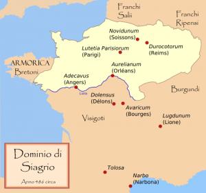 """Het zogenaamde """"Koninkrijk Soissons"""" waarover dux Syagrius nog steeds het bevel voerde tot 486. Clovis maakte een einde aan deze Romeinse stuiptrekking."""