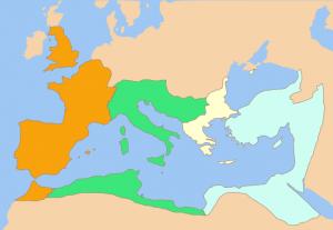 De verdeling van het Romeinse rijk in september 337. Van oost naar west de machtsgebieden van Constantijn II, Constans, Dalmatius en Constantius II. Het gebied van Dalmatius werd vrijwel meteen verdeeld tussen de omringende delen.