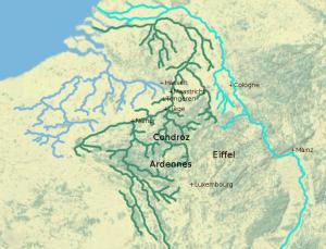 Het rivierengebied van de Rijn, Schelde en Maas. De Eburonen leefden waarschijnlijk rondom de Maas. Ten westen van hen, bij de riviermondingen, woonden de Menapiërs.
