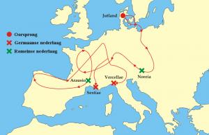 Op hun uitgebreide migratietochten kwamen de Cimbren en Teutonen gevaarlijk dichtbij Romeins gebied. De schrik zat er nog jarenlang in.