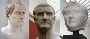 Caesar, Crassus en Pompeius. Als het Eerste Triumviraat sloten deze rivalen de handen ineen en zorgden ervoor dat er niets gebeurde dat tegen hen werkte. Na de dood van Crassus viel deze balans weg en werden Pompeius en Caesar aartsvijanden.