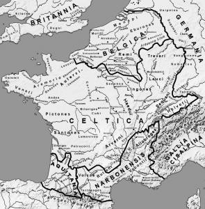 """""""Heel Gallië is verdeeld in drie gebieden,"""" aldus Julius Caesar. In werkelijkheid zal de etnische verdeling (als die er al was) niet letterlijk per rivieroever gegaan zijn."""