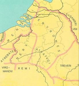 De belangrijkste stammen van Belgica in de tijd van de Gallische Oorlog. De Treveri in het zuidoosten werden traditioneel niet tot de Belgen gerekend, al zou hun grondgebied later wel bij de provincie Belgica worden ingedeeld.