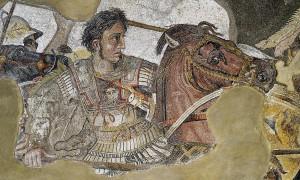 Close-up van het Alexandermozaïek, Pompeï, ca. 100 v. Chr.