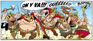 'Na weken en weken slavernij hadden we er onze buik vol van!' Het stripalbum Asterix en de Belgen, zet de (fictieve) opstandige Belgae neer als grote eters met plezier in de strijd, uiteraard gecombineerd met wat moderne Belgische zaken zoals spruitjes, kant en het idee om patat te bakken.